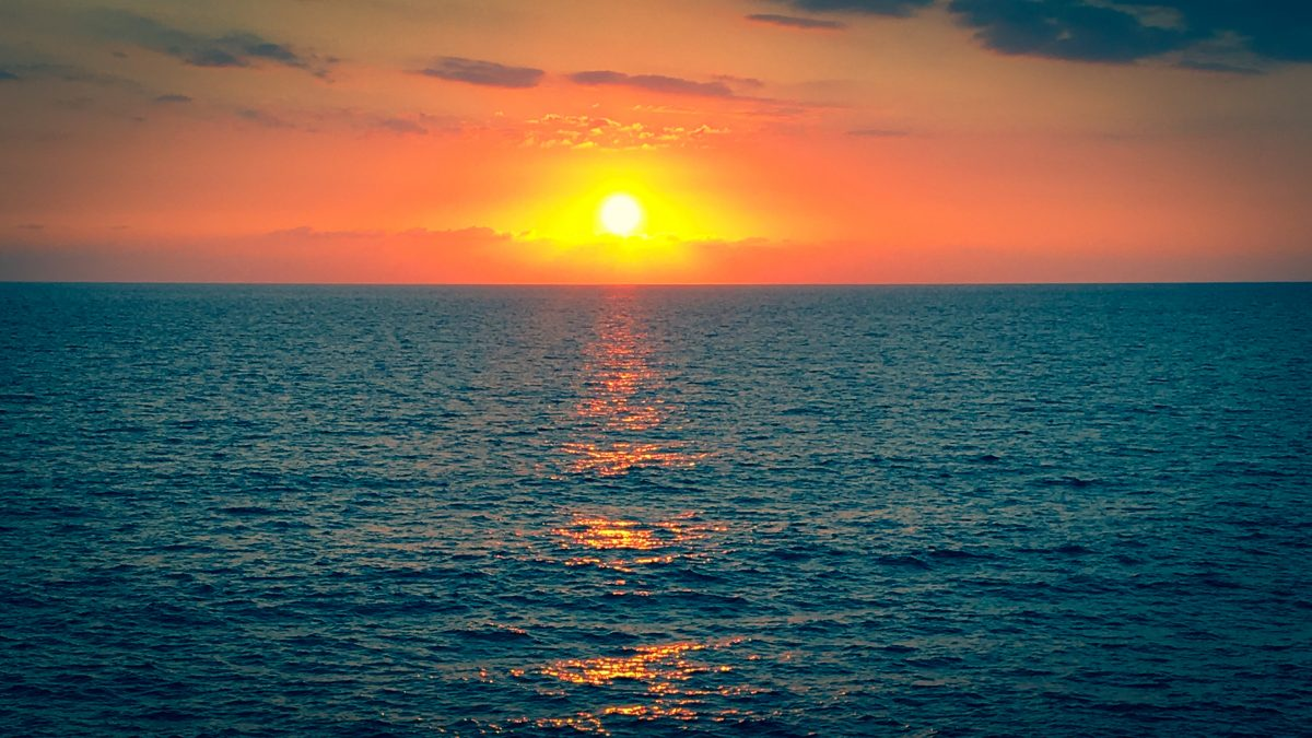 A sunset reflecting on the sea
