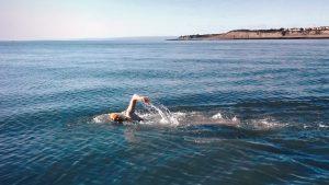 Jo Jones swimming in the Bristol Channel
